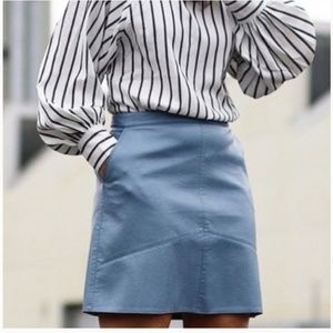 ZARA Blue Faux Leather A Line Skirt